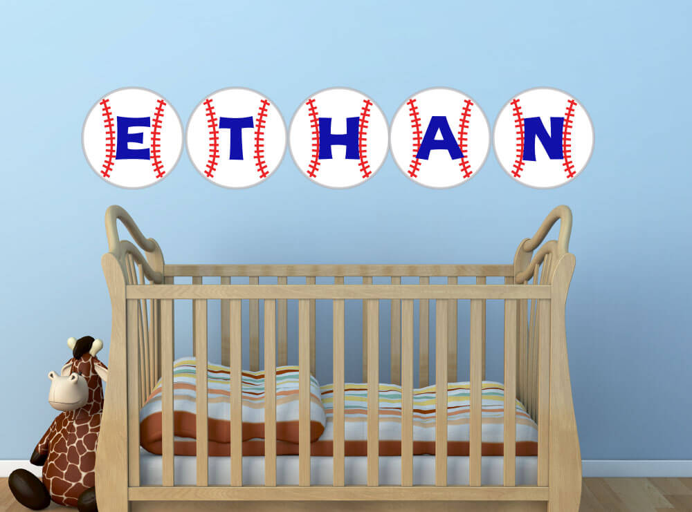 Batter Up! Personalized Baseball Nursery Wall Decals