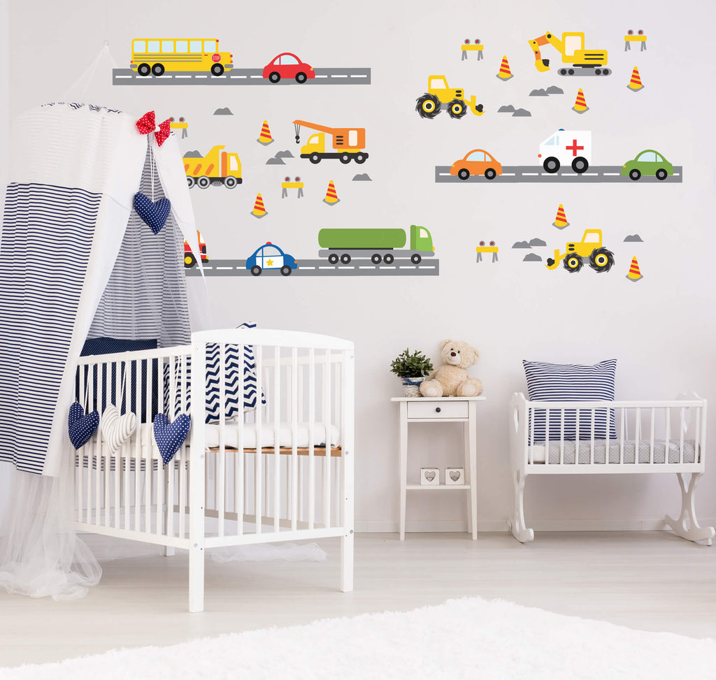 Busy Boy! Transportation Childrens Wall Decals