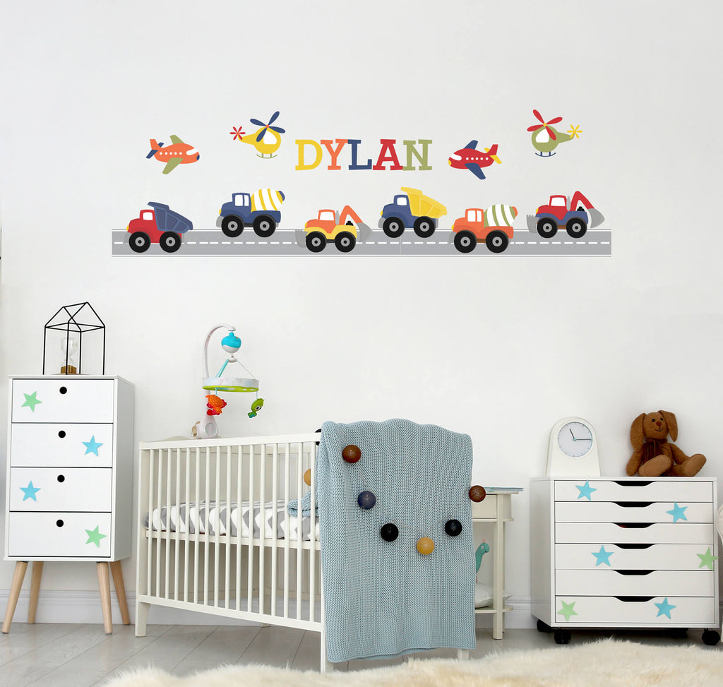 Land and Sky! Personalized Transportation Wall Decals