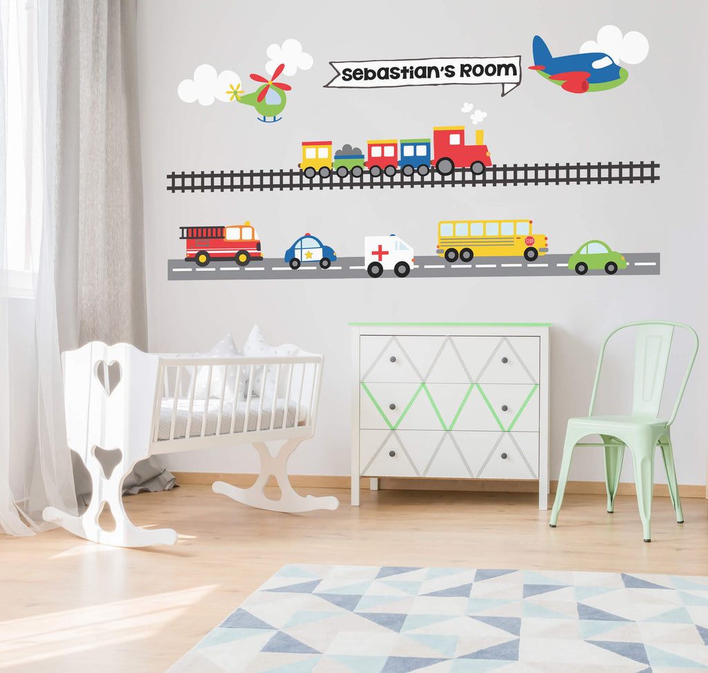 Name in the Clouds! Personalized Transportation Wall Decals