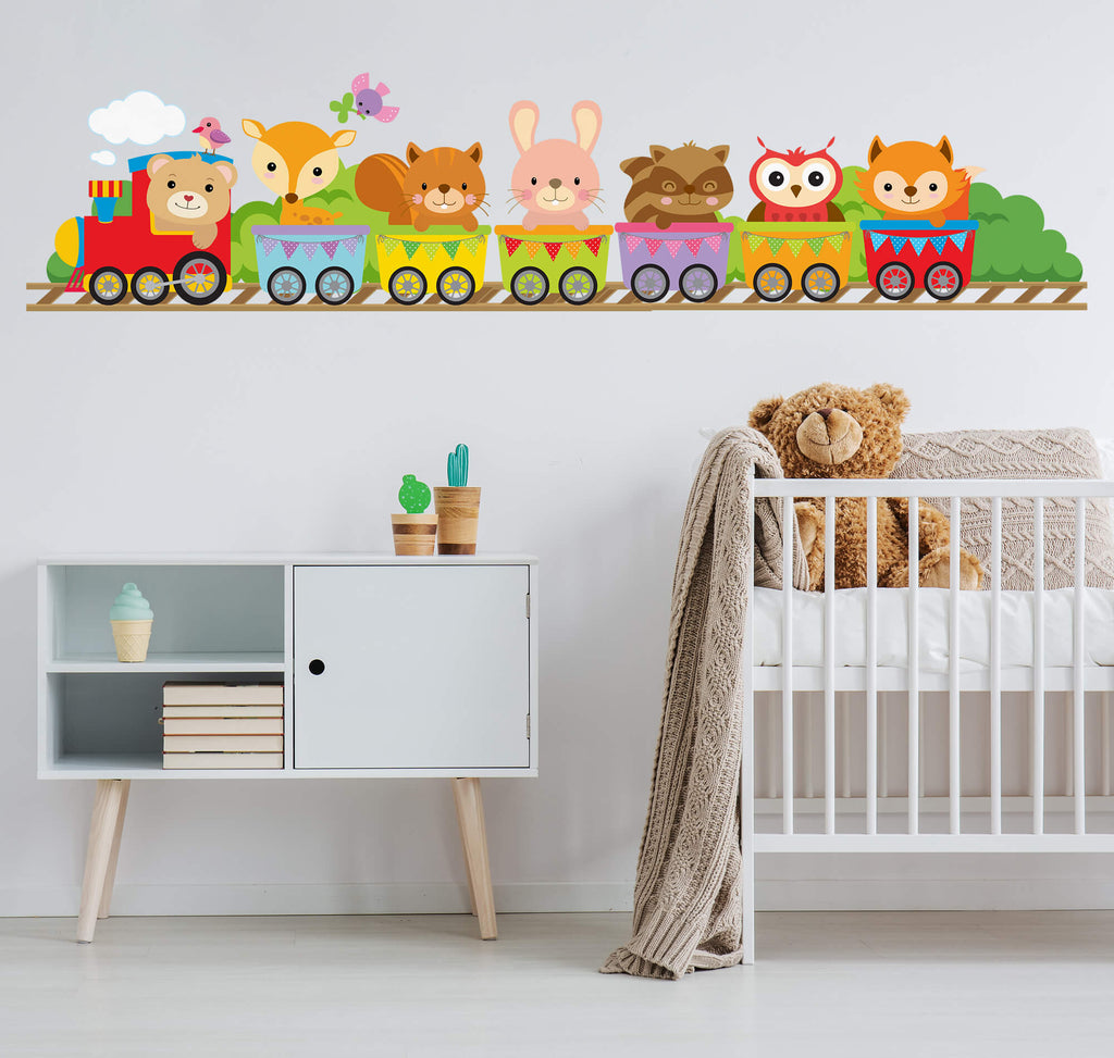 Animal Train Nursery Wall Decals