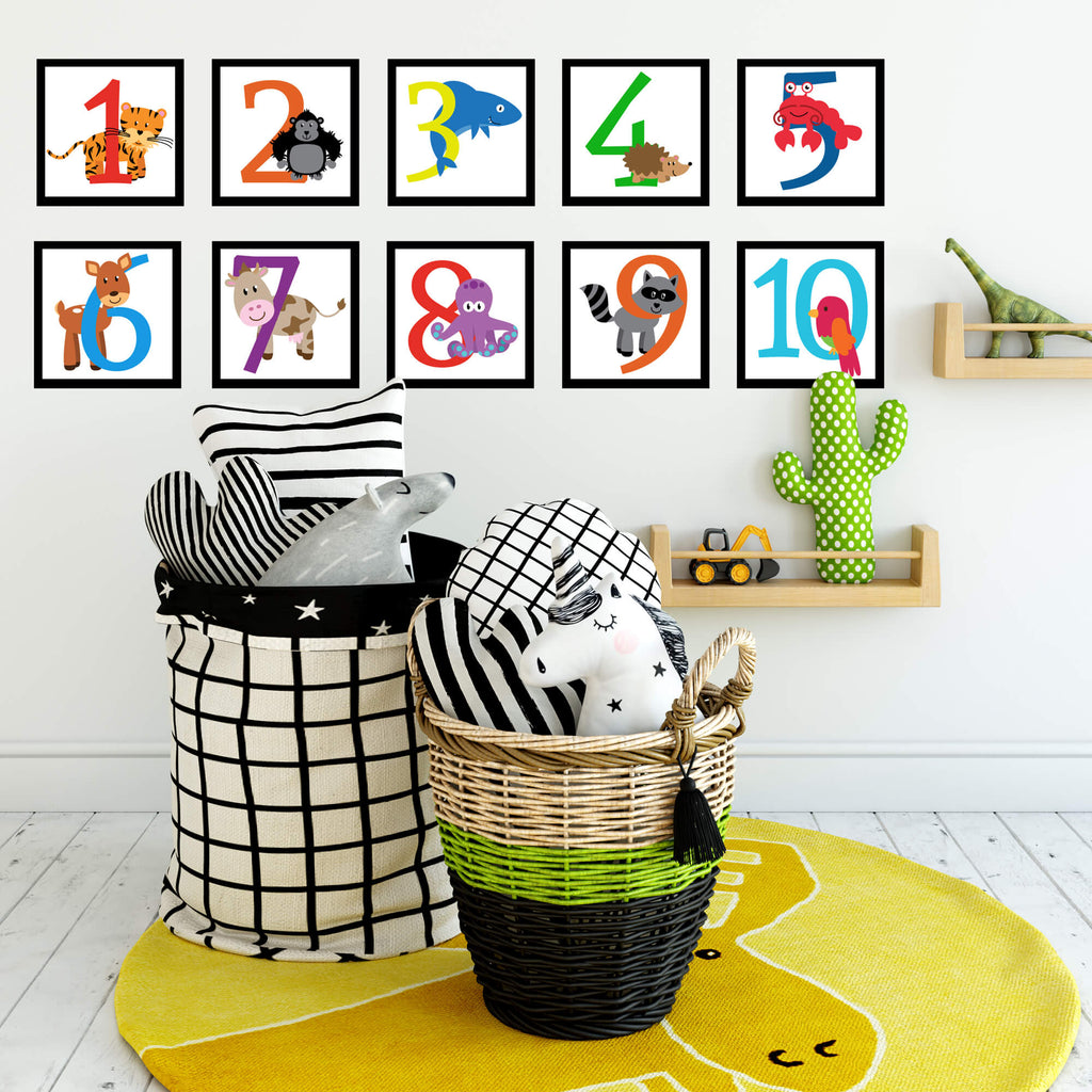Animal Number Wall Decals