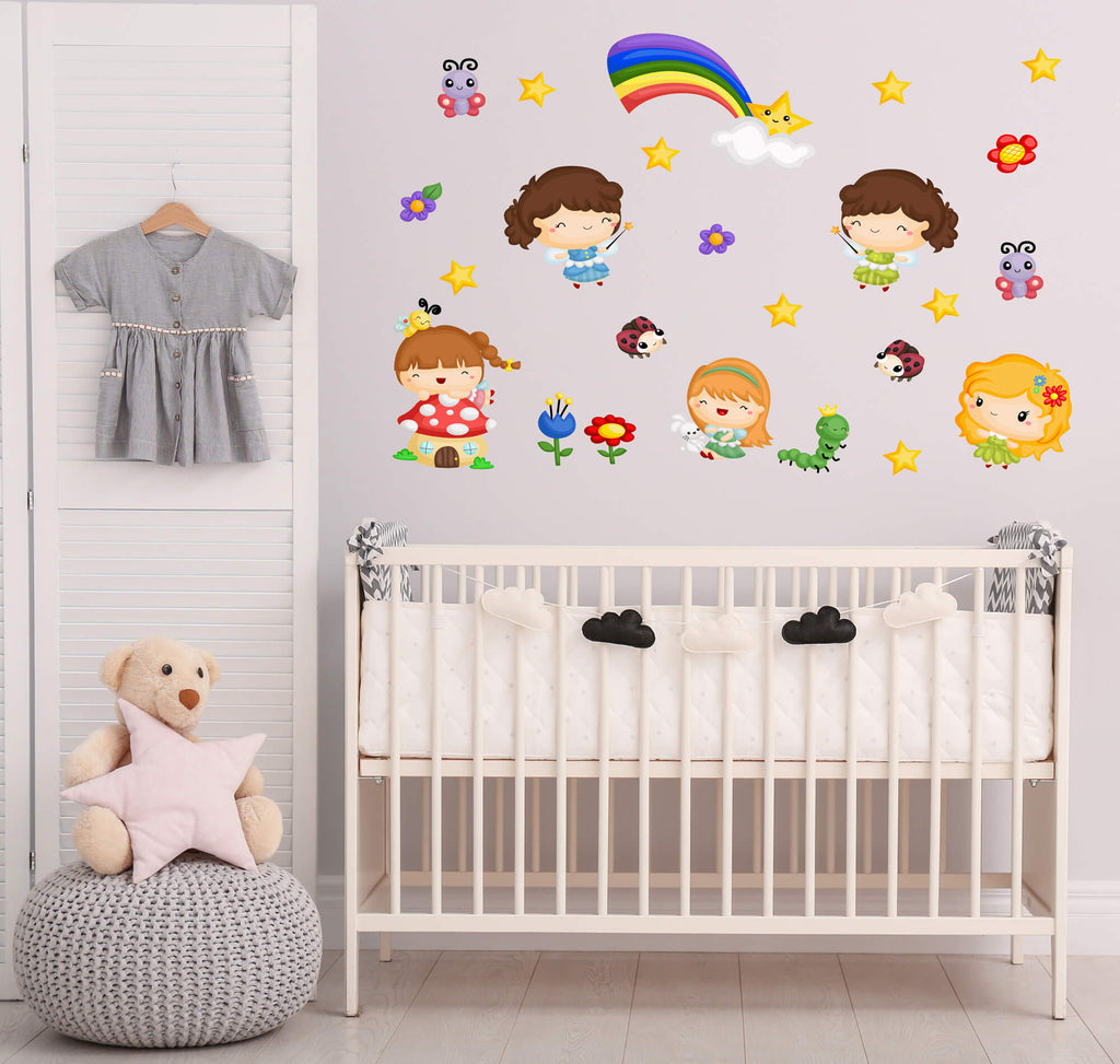 """Magical Little Fairies"" Peel & Stick Girls Wall Decals"