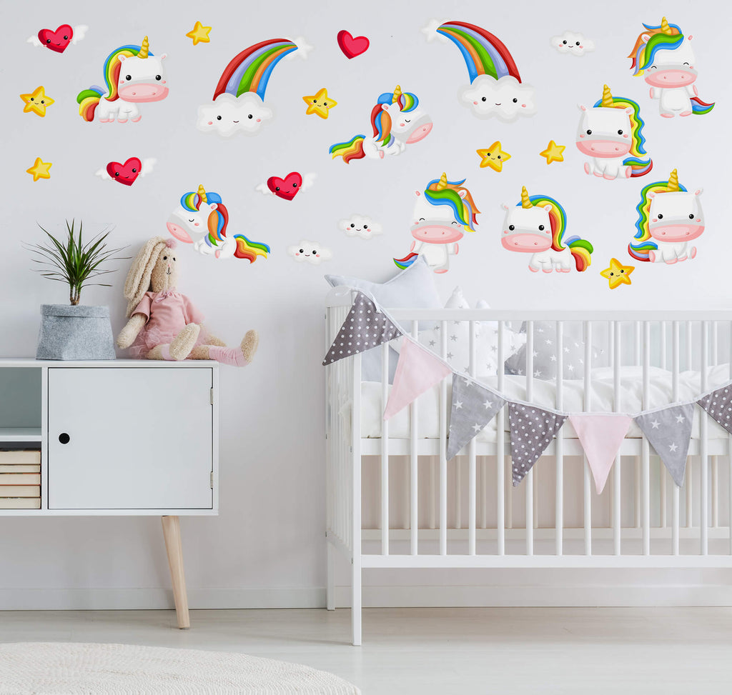 """Curious Baby Unicorns"" Peel & Stick Girls Wall Decals"