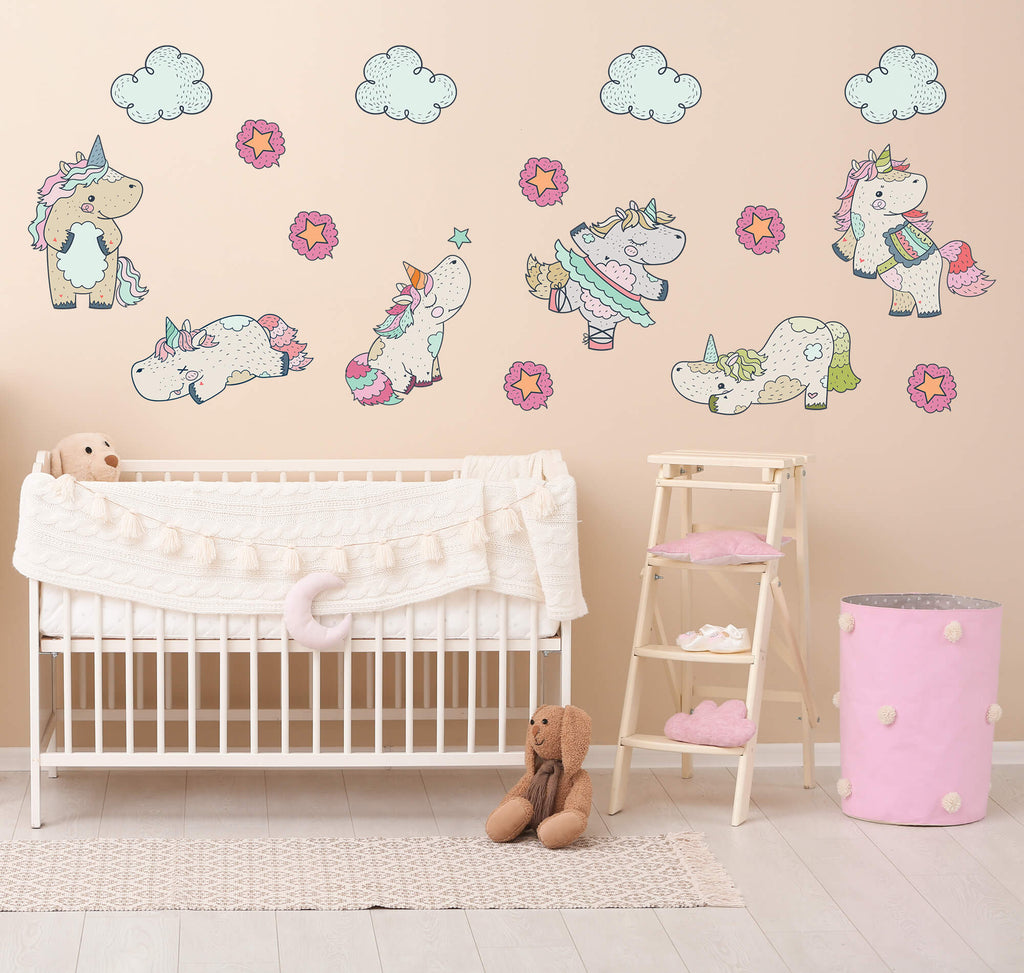"""Playful Baby Unicorns"" Peel & Stick Girls Wall Decals"