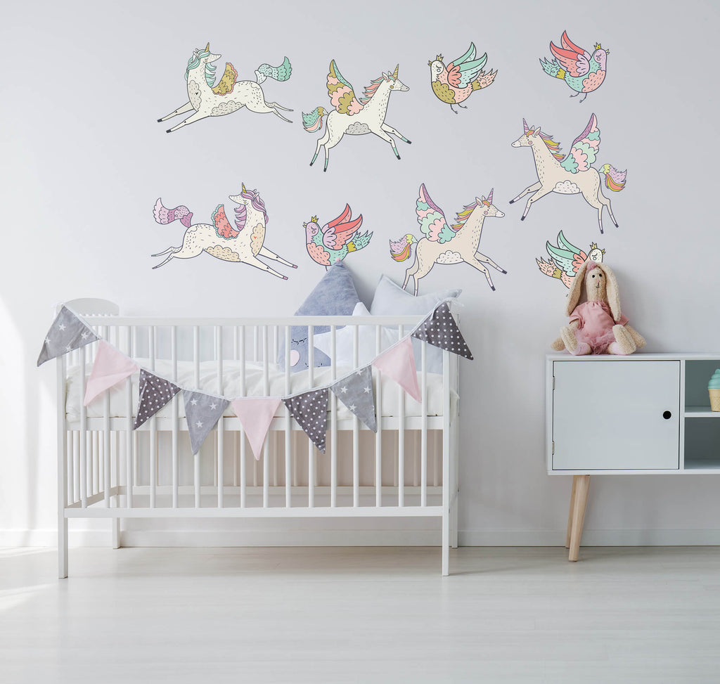 """Flying Unicorns"" Peel & Stick Girls Wall Decals"