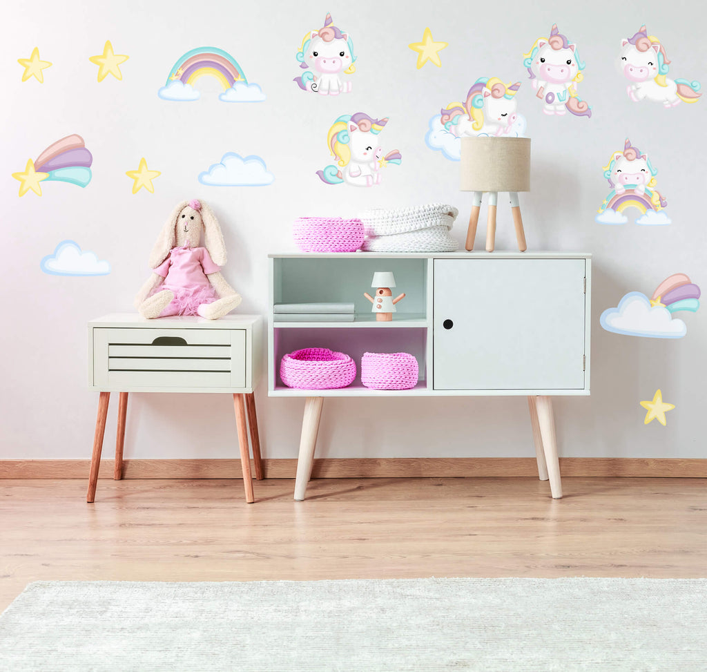 """Baby Bright Unicorns"" Peel & Stick Girls Nursery Wall Decals"