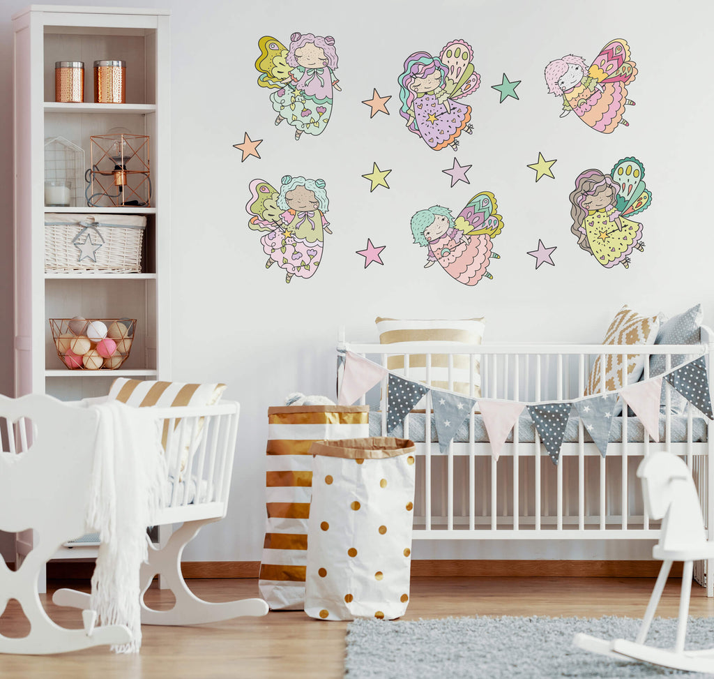 """Flying Fairies and Stars"" Peel & Stick Girls Wall Decals"