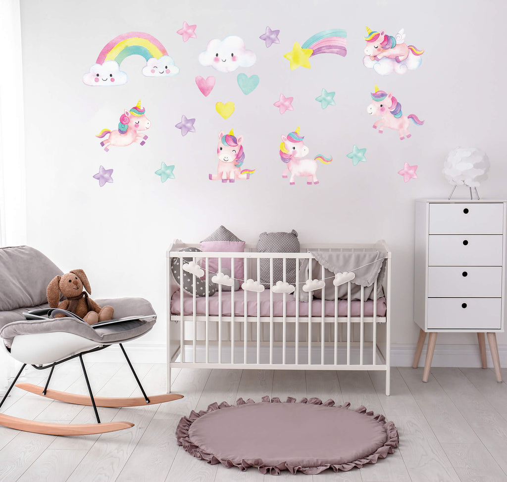 """Unicorn Adventures in Play"" Peel & Stick Girls Wall Decals"