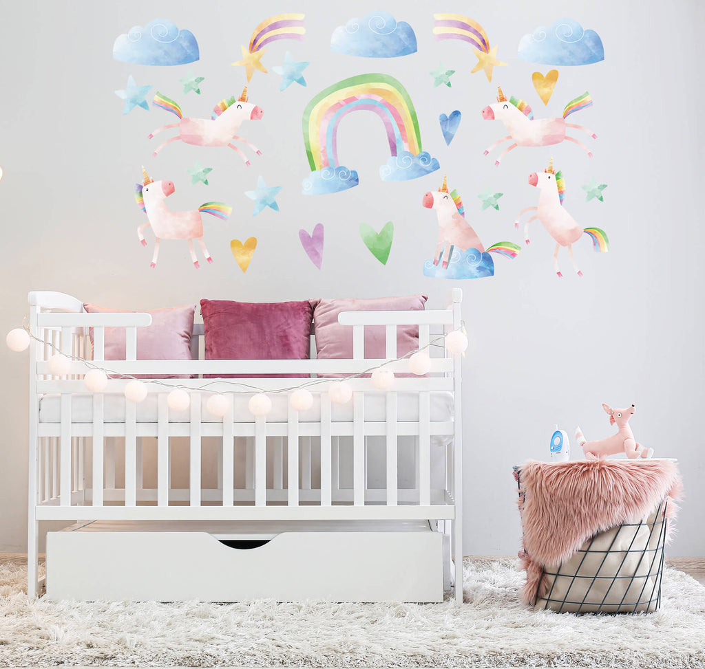"""Frolicking Pink Unicorns"" Peel & Stick Girls Wall Decals"