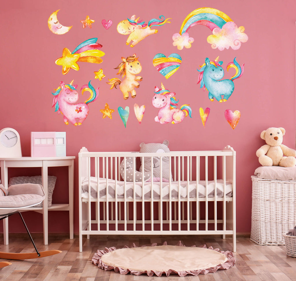 """Fabulous Five Playful Unicorns"" Peel & Stick Girls Wall Decals"