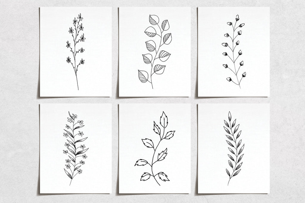 Hand Drawn Flower Prints (6) | Minimal Modern Wall Art | Wall Art Decor Prints Hand Drawn | Room Wall Decor | YP-1060