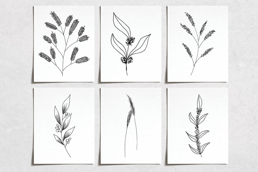 Hand Drawn Flower Prints (6) | Minimal Modern Wall Art | Wall Art Decor Prints Hand Drawn | Room Wall Decor | YP-1062