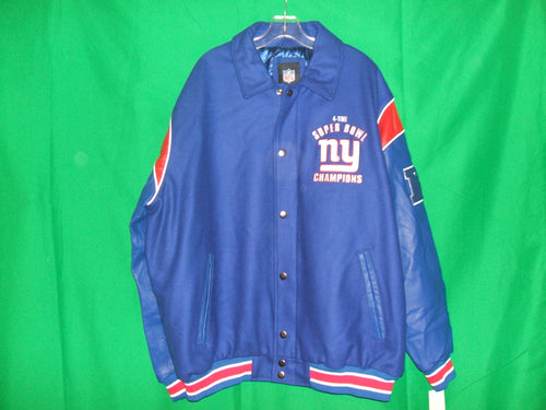 NFL New York Giants Leather and Wool Super Bowl Jacket