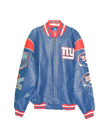 NFL New York Giants Authentic all Leather Super Bowl Jacket