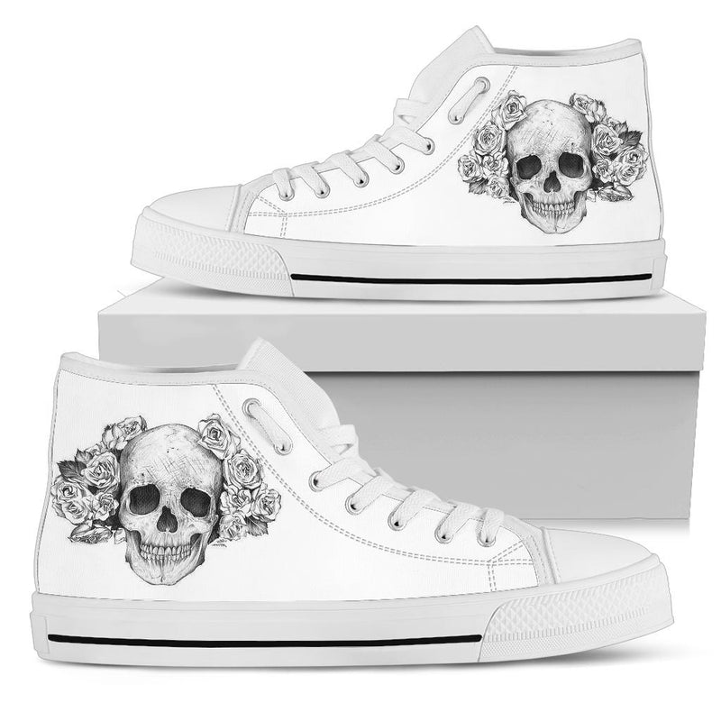 Skull - White High Tops for Women