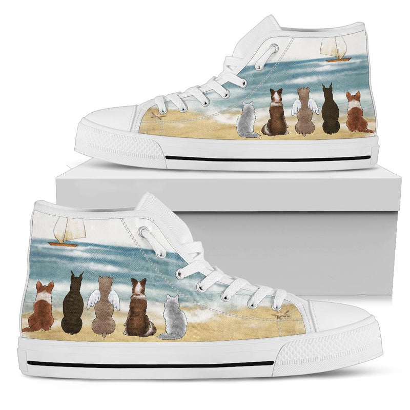 Your Pets on the Beach - White High Tops for Women