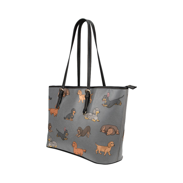 Dachshund & Gray - Leather Tote for Ladies