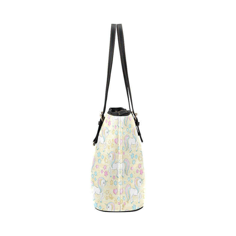 Unicorns & Yellow - Leather Tote for Ladies