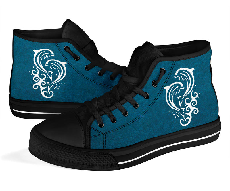 Dolphins - Black High Tops for Men