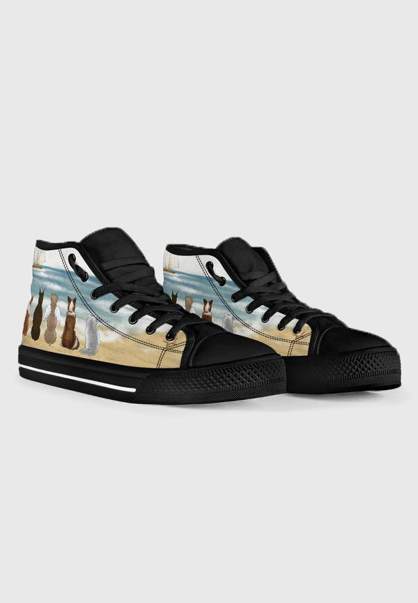 Your Pets on the Beach - Black High Tops for Women