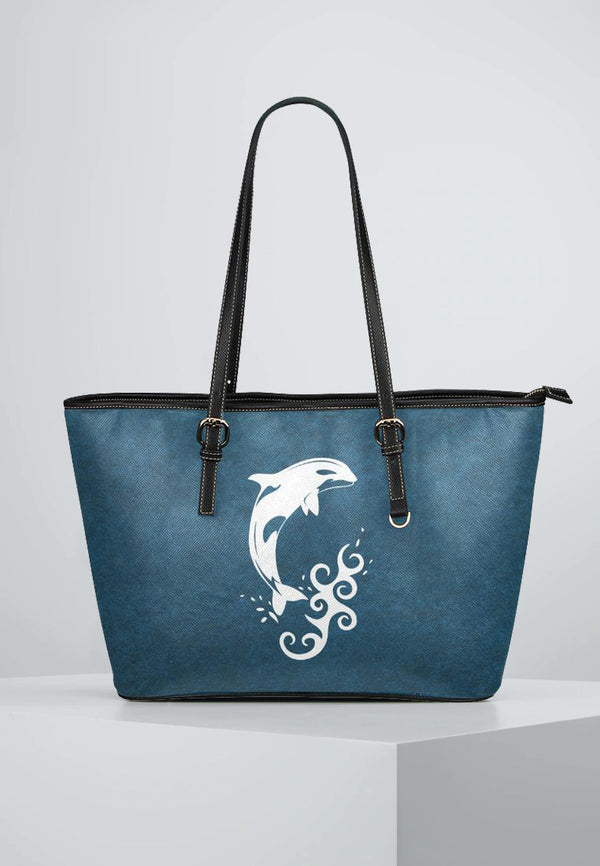 Killer Whale - Leather Tote for Ladies