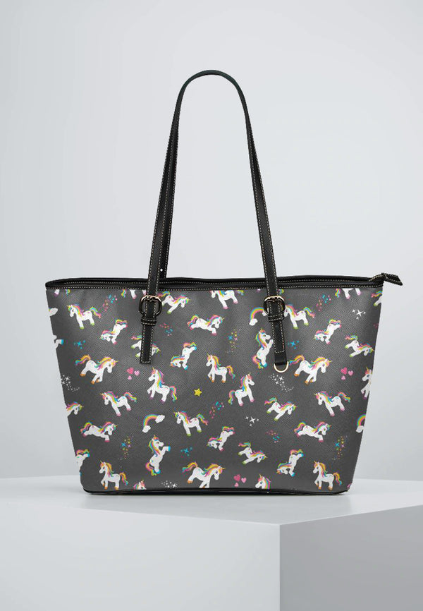 Unicorns & Black - Leather Tote for Ladies