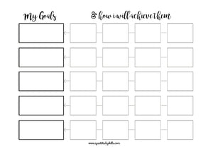 Open image in slideshow, Goals Planning Printable with Brush Lettering Headers