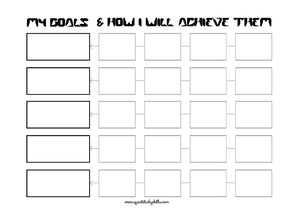 Open image in slideshow, Goals Planner Planning Printable with graffiti style lettering headers