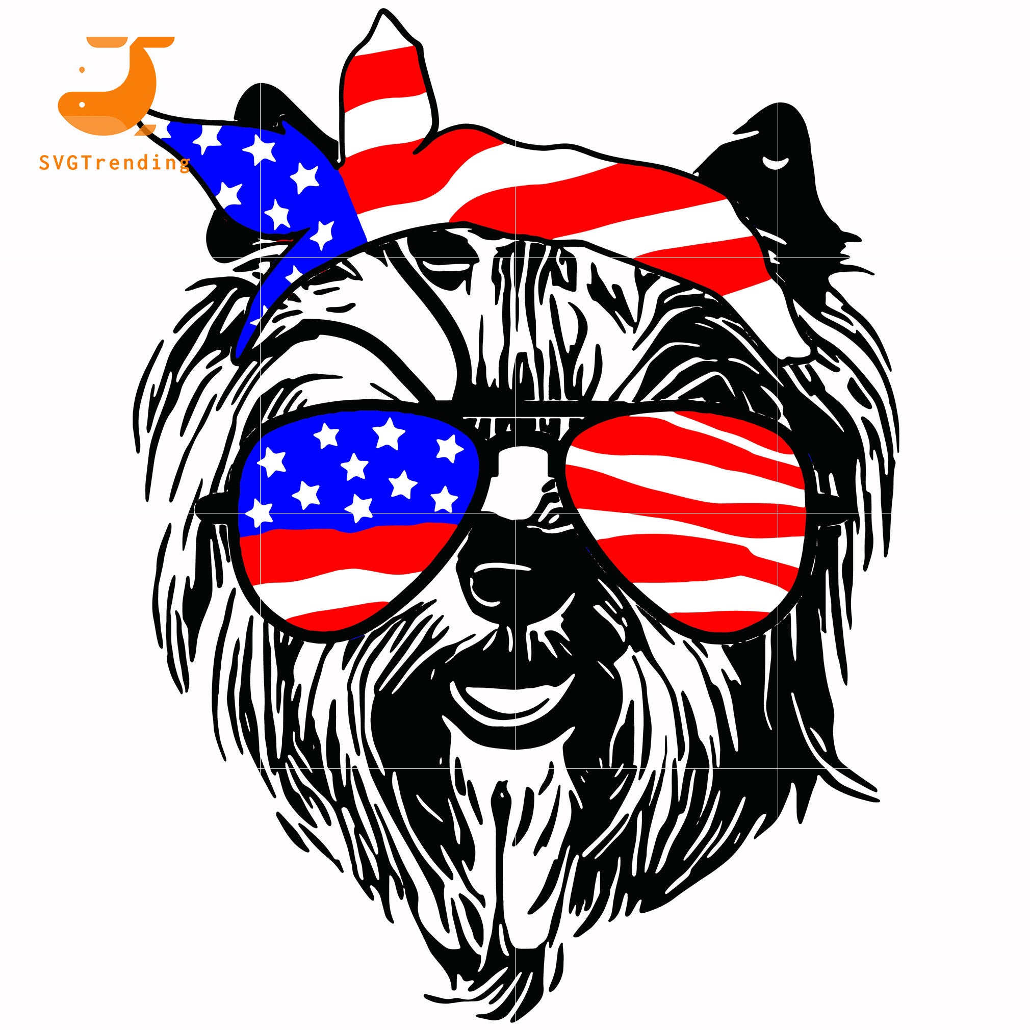 yorkshire dog america svg, png, dxf, eps, digital file