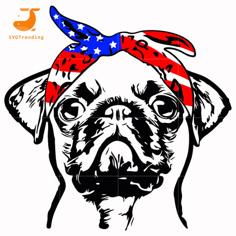 pug america svg, png, dxf, eps, digital file
