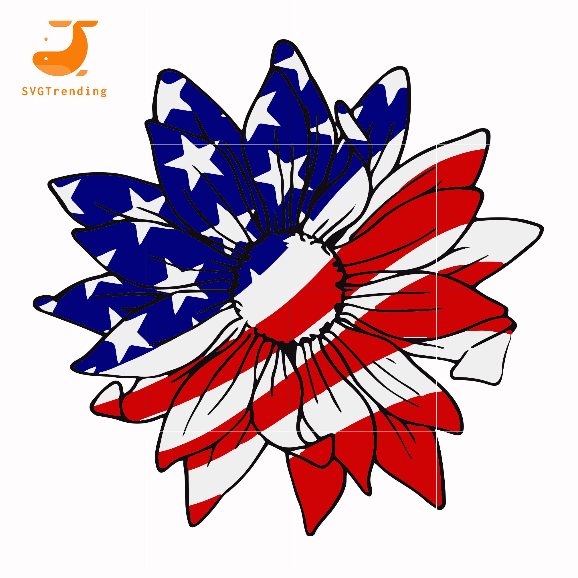 flower america svg, png, dxf, eps, digital file JULY0014