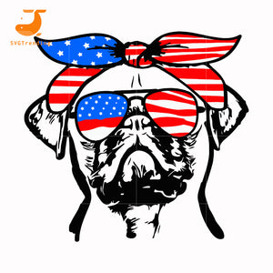 pug america 73 svg, png, dxf, eps, digital file JULY0073