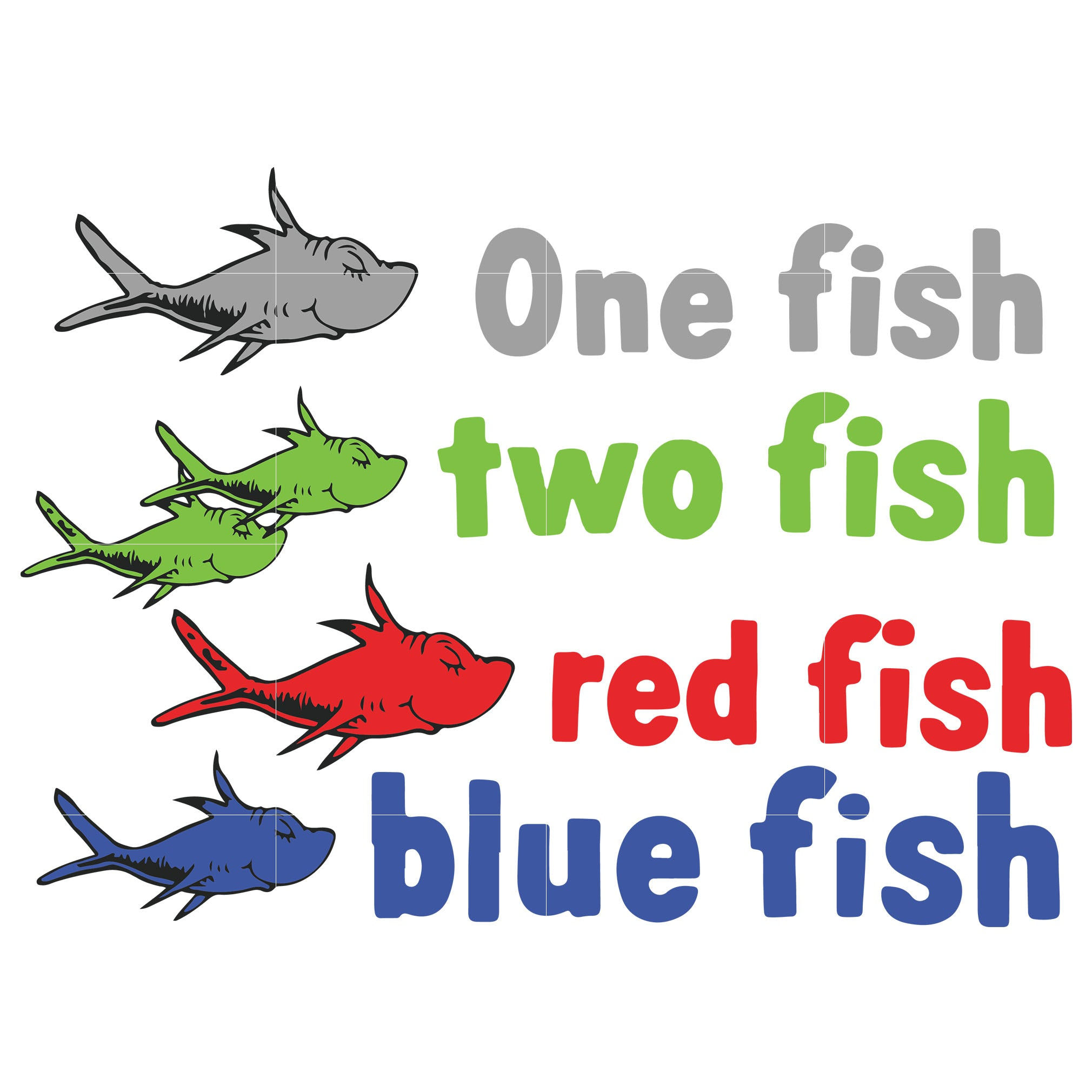 One fish two fish red fish blue fish, dr seuss svg, dr seuss quotes, digital file