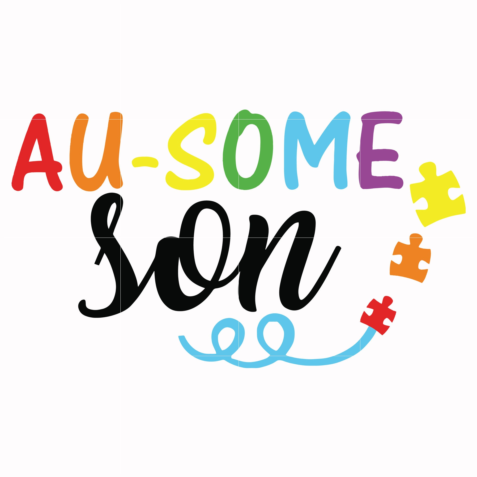 Au-some son svg, autism svg, autism awareness svg, dxf, eps, png digital file