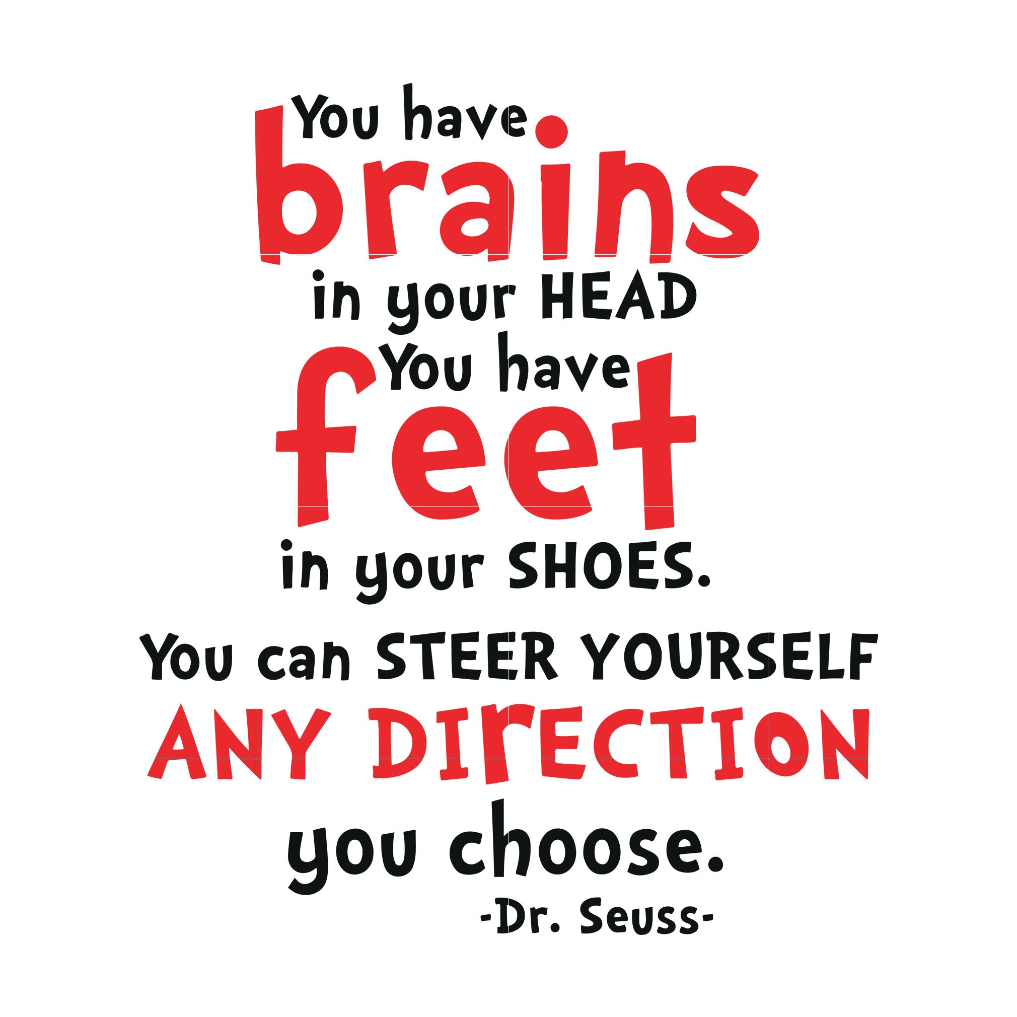 You have brains in your head you have feet in your shoes you can steers yourself any direction you choose, dr seuss svg, dr seuss quotes, digital file