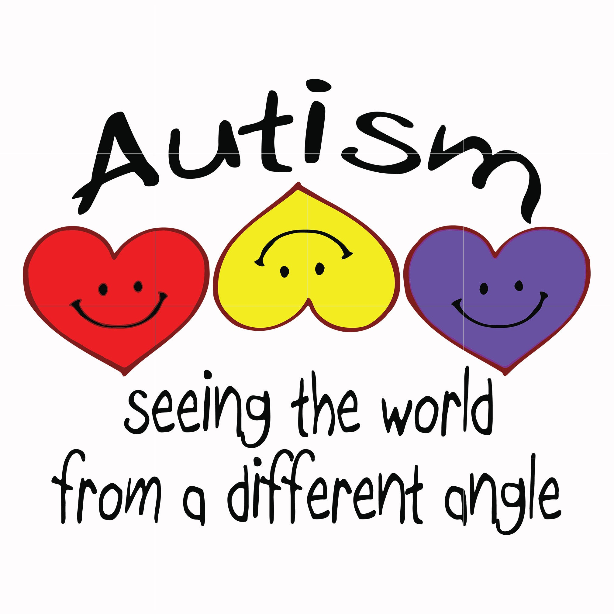 Autism seeing the word from a different angle svg, autism svg, autism awareness svg, dxf, eps, png digital file