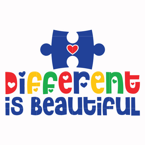 Different is beautiful svg, autism svg, autism awareness svg, dxf, eps, png digital file