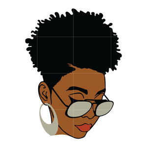 Black Woman with glasses svg, Afro Woman Svg, African American Woman svg, dxf, eps, png digital file