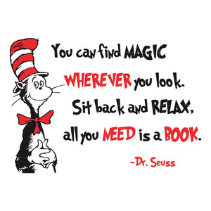 You can find magic wherever you look sit back and relax all you need is a book, dr seuss svg, dr seuss quotes digital file