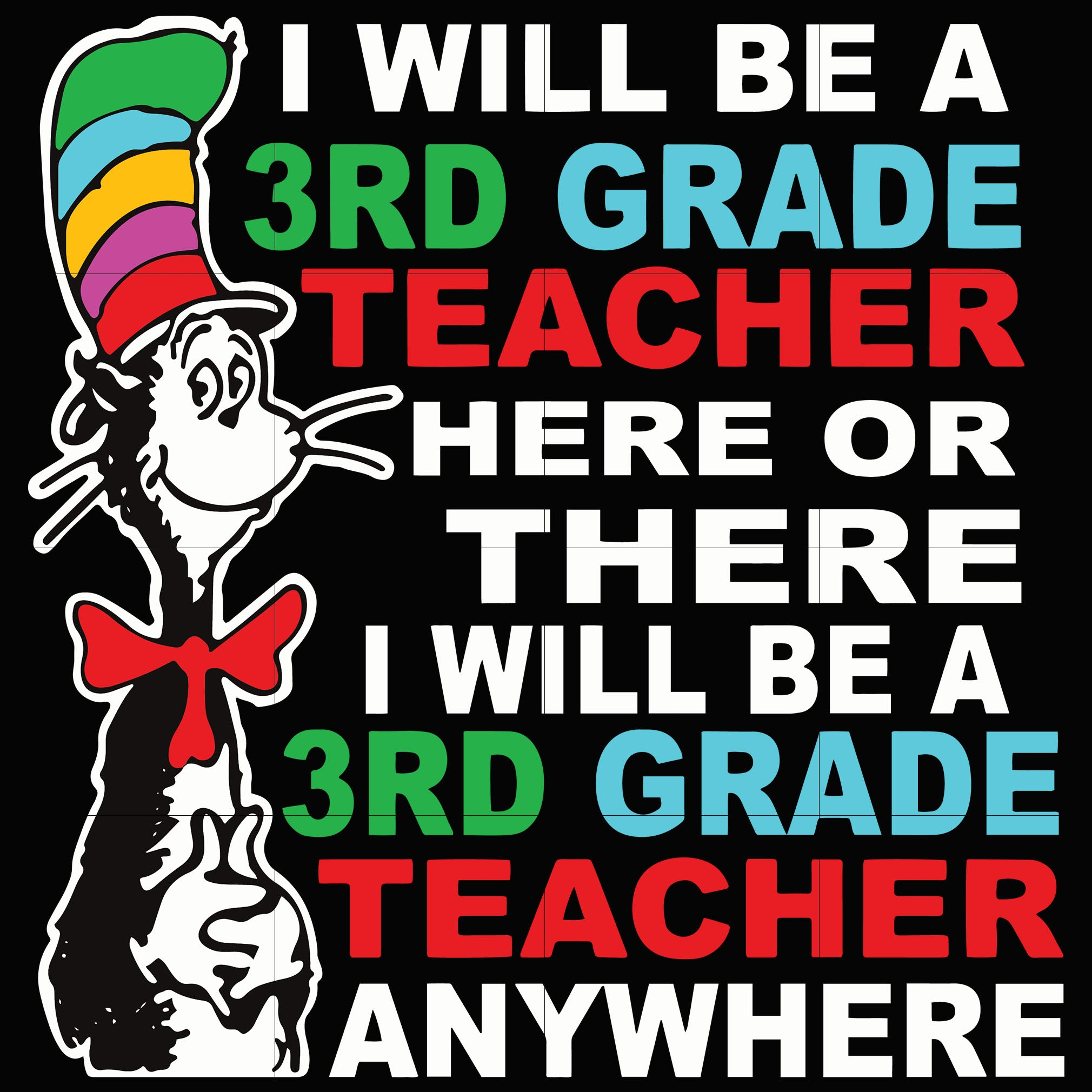 I will be a 3rd grade teacher here or there i will be a 3rd grade teacher any where, dr seuss svg, dr seuss quotes digital file
