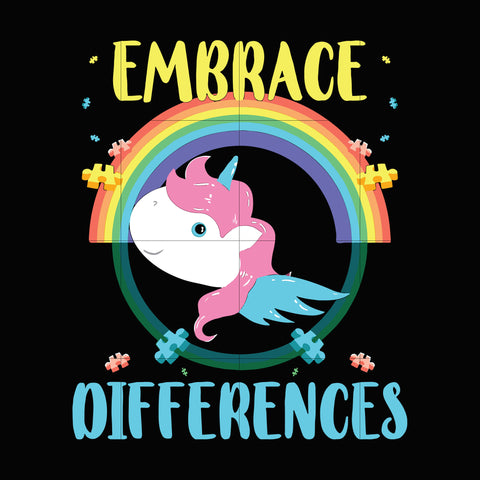 Embrace differences svg, autism svg, autism awareness svg, dxf, eps, png digital file