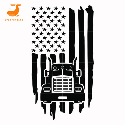 Truck american flag svg, dxf, eps, png digital file