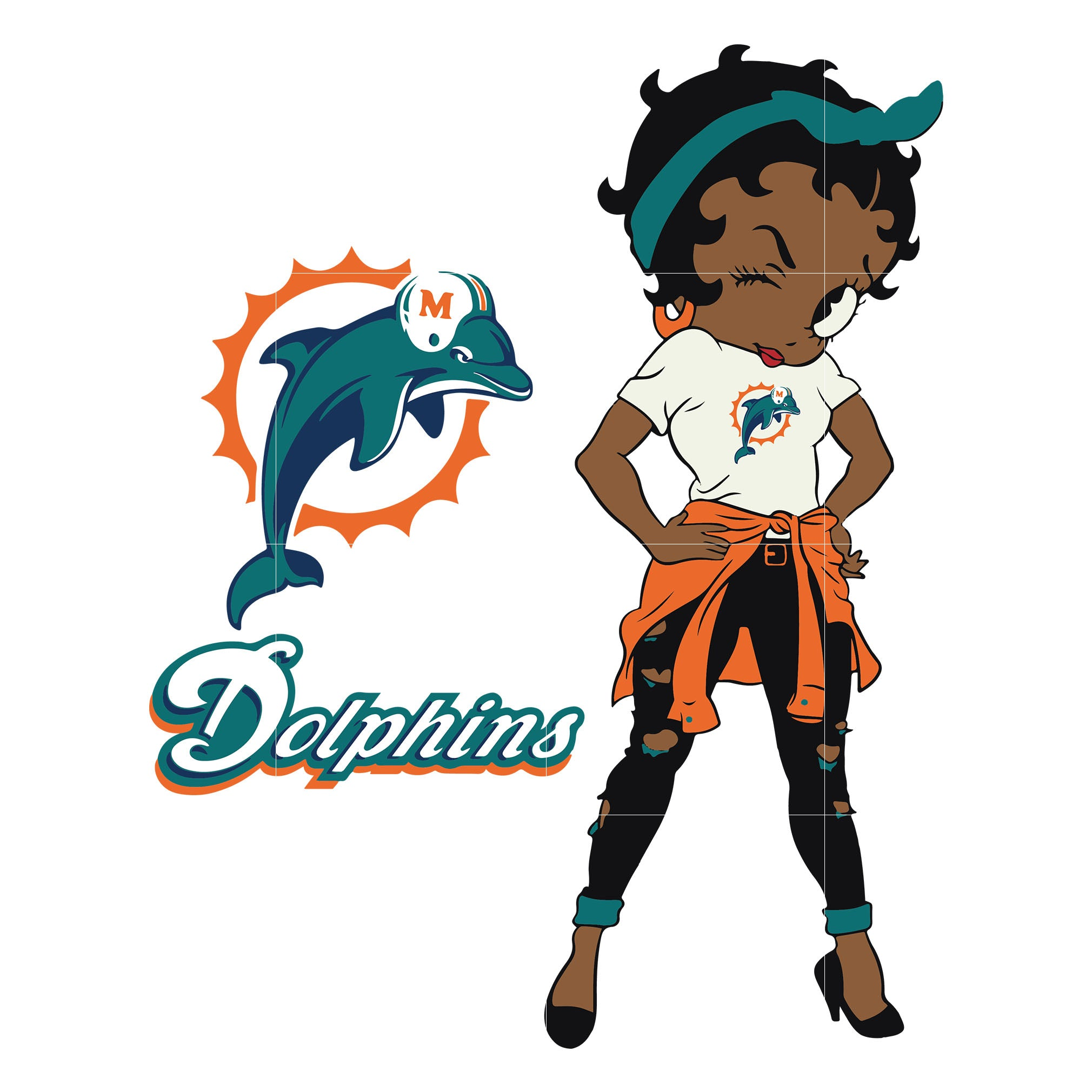 Betty boop Miami Dolphins,  Miami Dolphins svg, png, dxf, eps. INSTANT DOWNLOAD