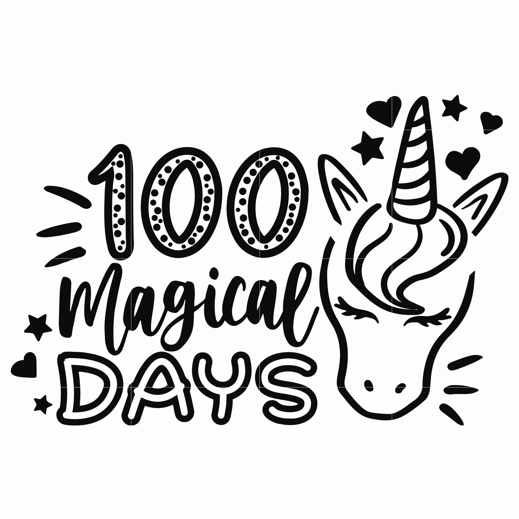 100 magical day svg, mardi gras, 100 day of school svg dxf, eps, png digital file