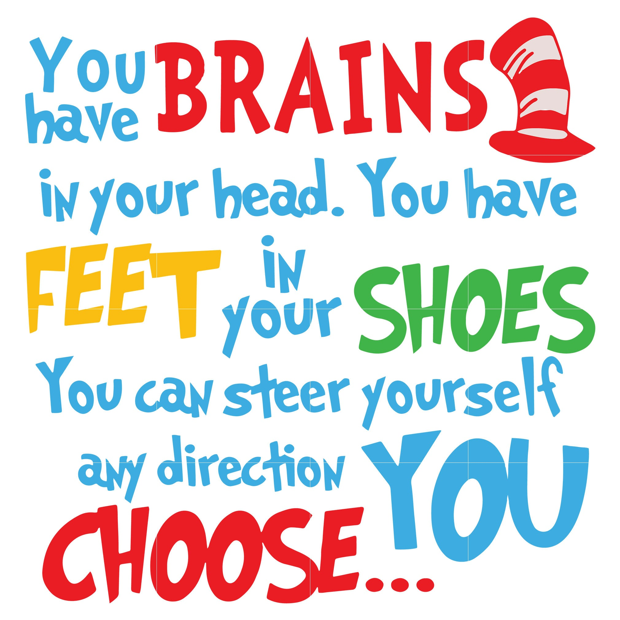 You have brains in your head you have feet in your shoes you can steer yourself any direction you choose, dr seuss svg, dr seuss quotes digital file