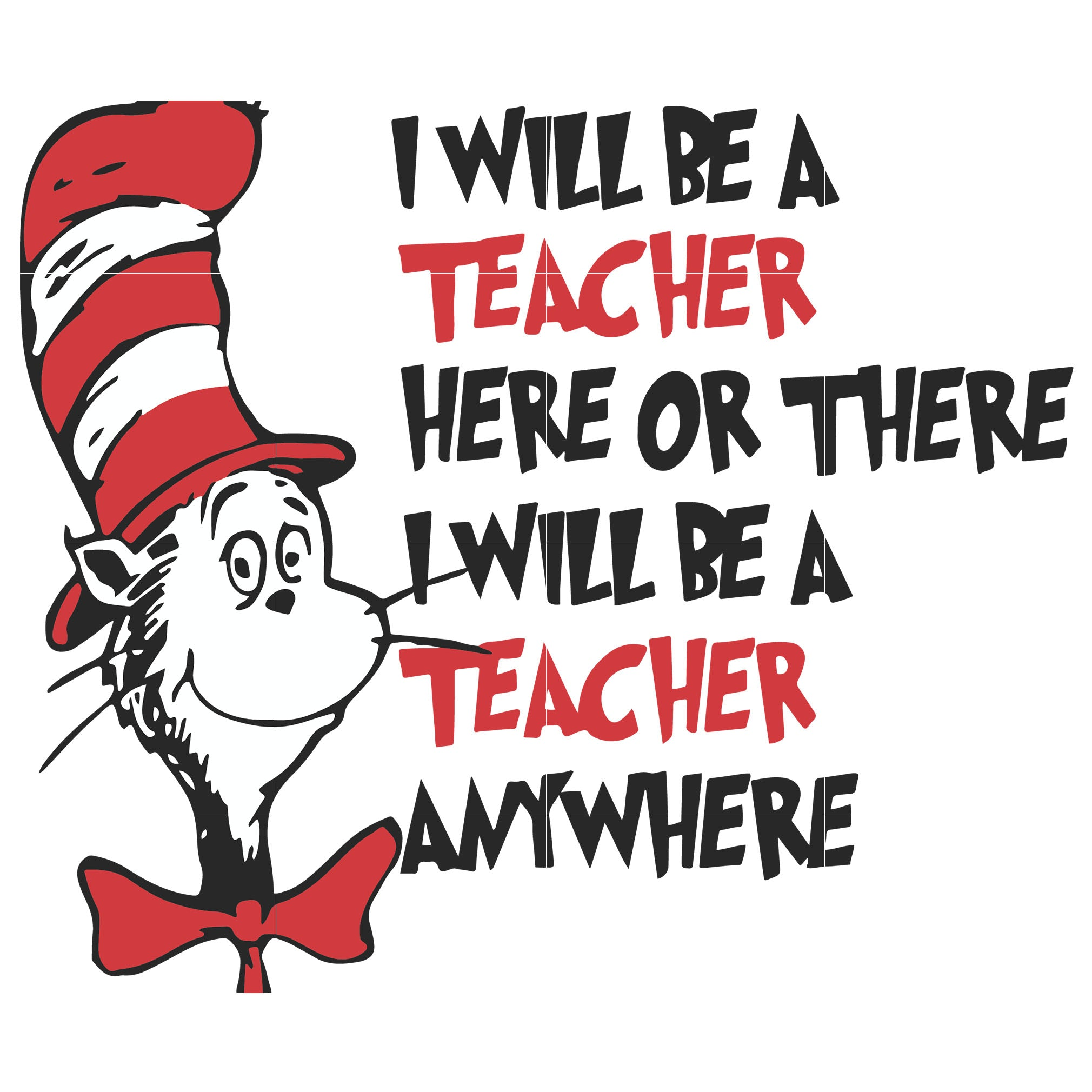 I will be teacher here or there i will be teacher any where, dr seuss svg, dr seuss quotes digital file