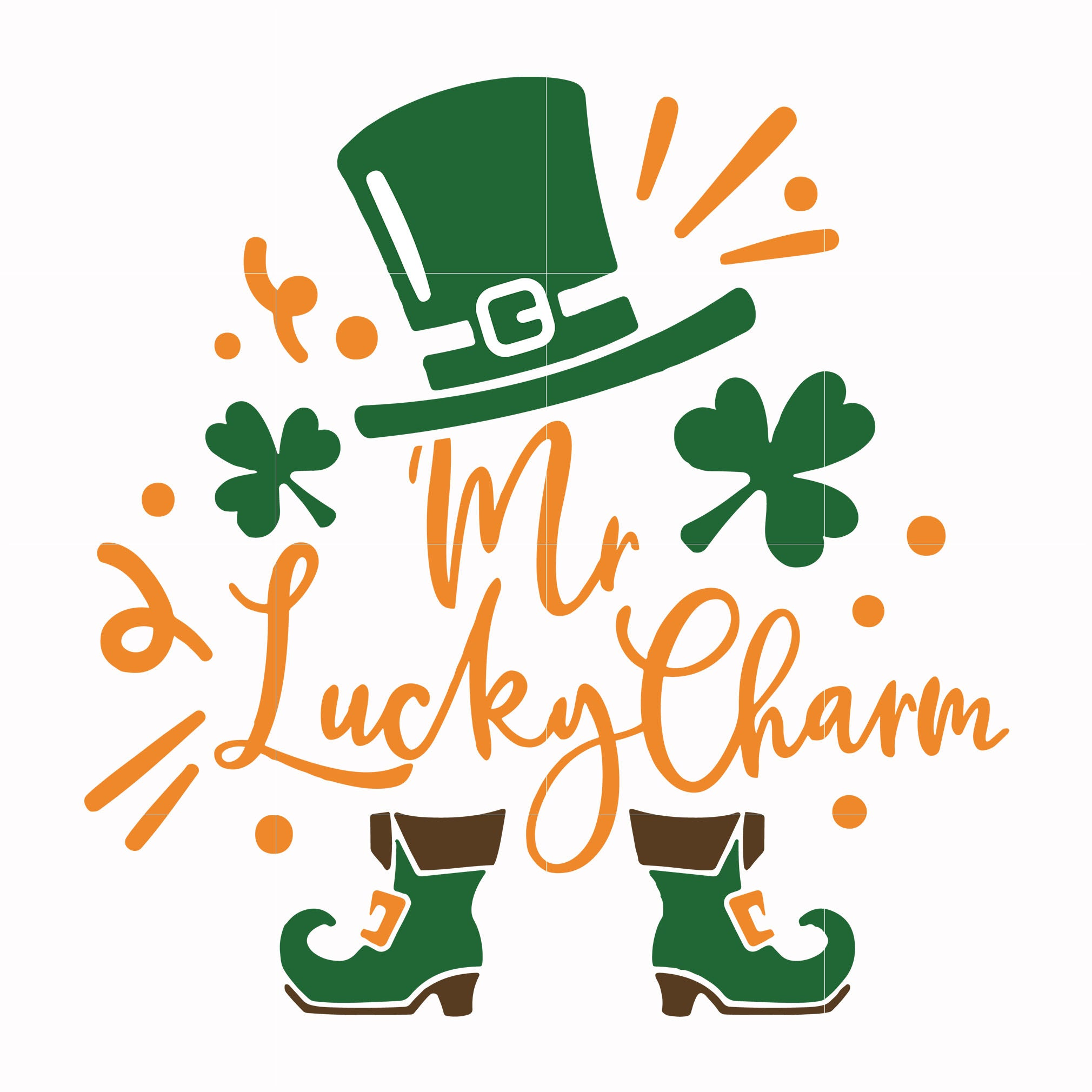 Mr lucky charm svg, shamrock svg, st patrick day svg, leprechaun svg, patrick svg, leprechaun svg, dxf, eps, png digital file