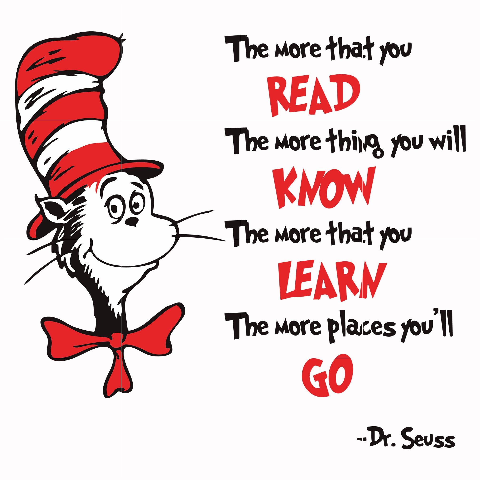 The more that you read the more thing you will know, thing one thing two, dr seuss svg, dr seuss quotes, digital file