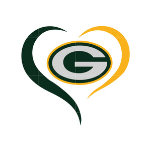 Packers heart svg, packers svg for cut